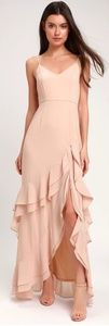 Lulus Esther Blush Ruffled Bridesmaid Maxi Dress